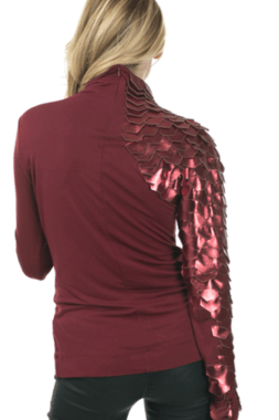 Burgundy Metrix Scale Sleeve Top