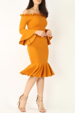 Mustard Midi Bell Sleeve Dress