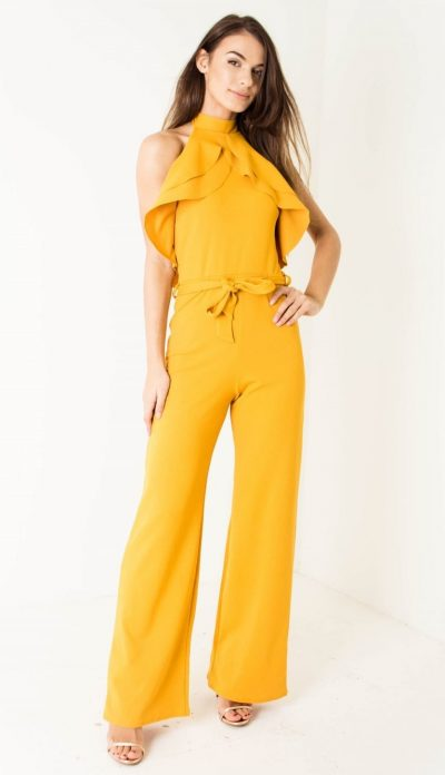 a94df1c042d Yellow Belted Ruffle Jumpsuit - Shop Claudia Myers Boutique
