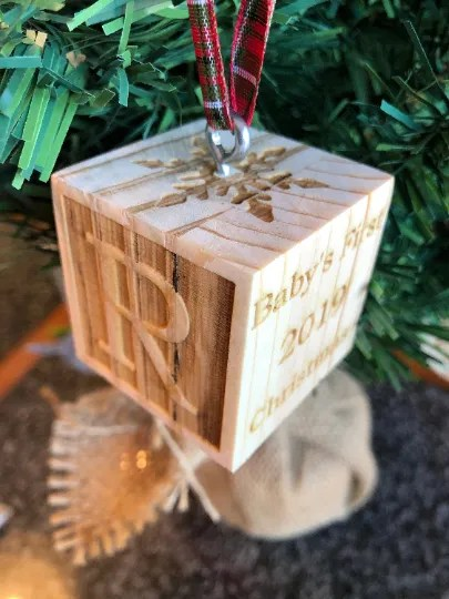 Baby block Christmas ornament
