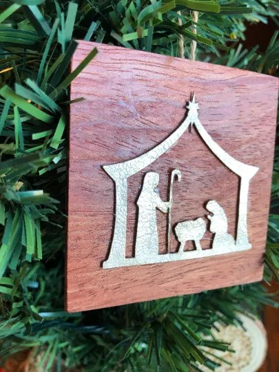 Manger on wood Christmas ornament