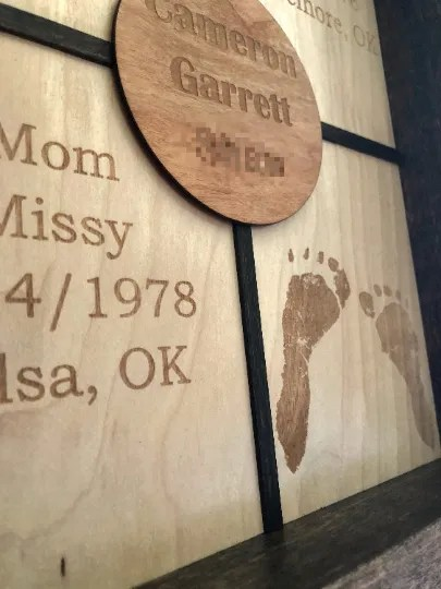 Laser engrave birth announcement