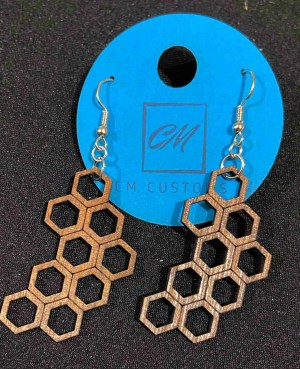 honeycomb dangle earrings laser cut