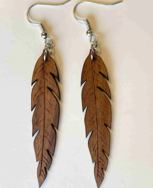 feather laser cut wood earrings