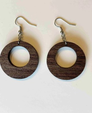 Offset circle laser cut wood earrings