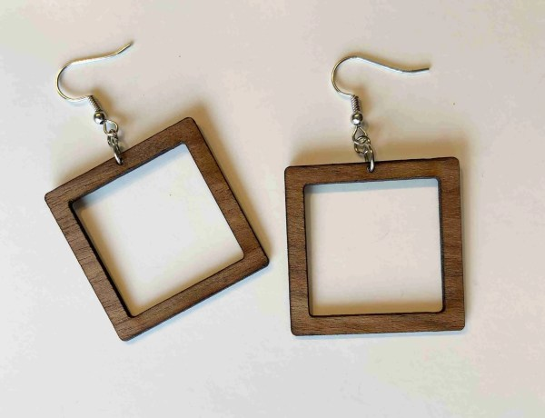 square cutout laser cut dangle earrings