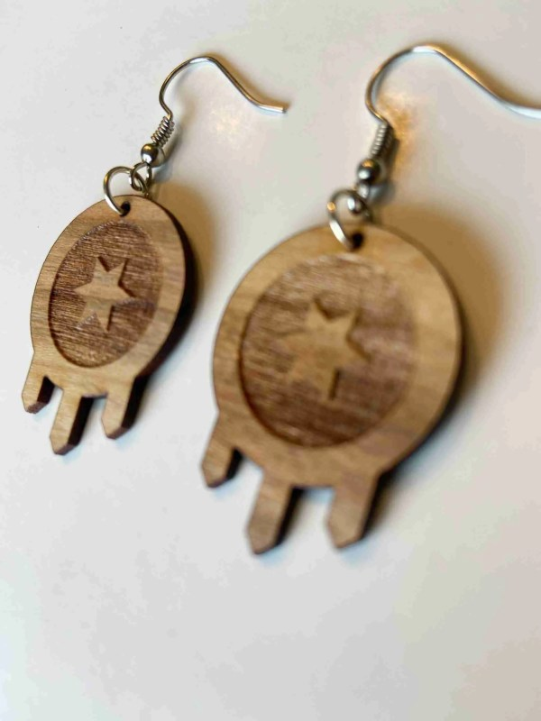 Tulsa flag laser cut wood earrings