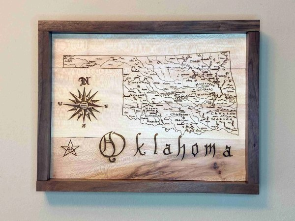 Oklahoma map laser engraved