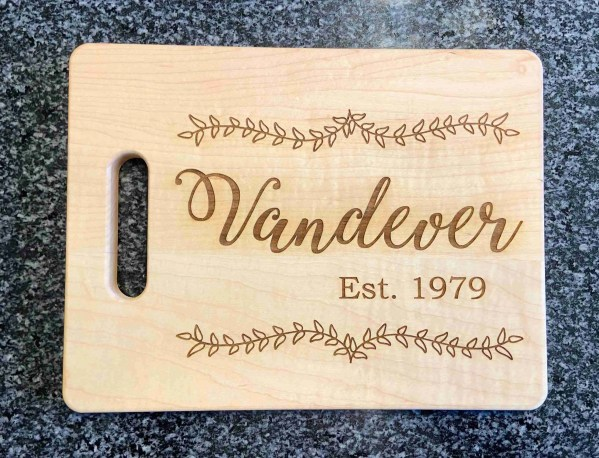 Family name laser engraved cutting board