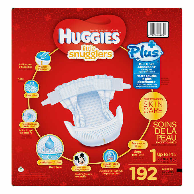 Huggies Little Snugglers Plus Diapers Size 1 192 Count 3499