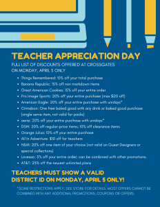 Teachers Appreciation Day - Crossgates