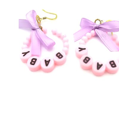 baby hoop earrings pink