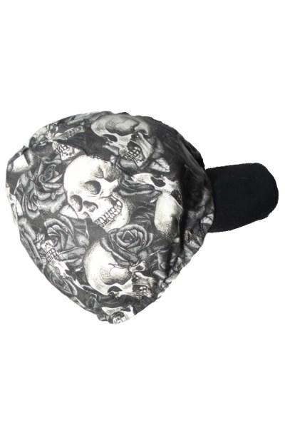 black and white skulls and roses side
