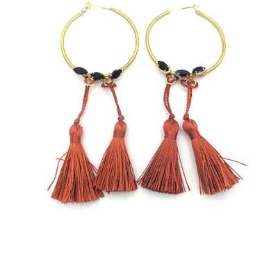 red fringe hoop earrings