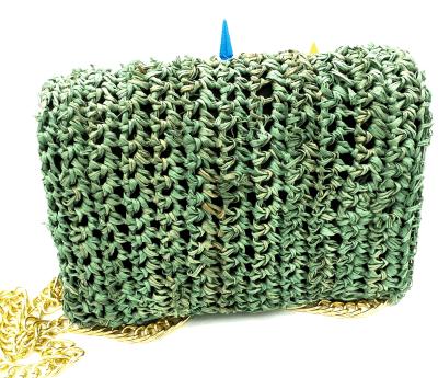 green straw bag back