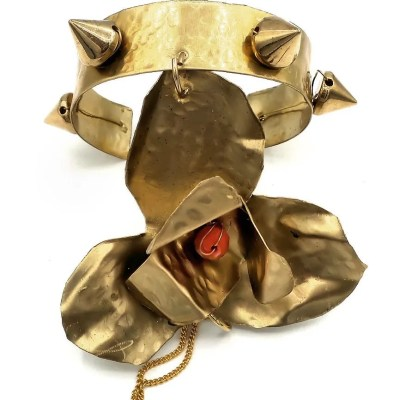 Studded brass cuff with brass fabricated orchid.