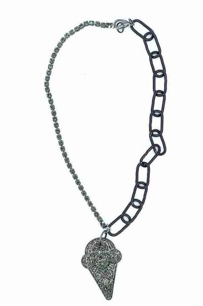 Resin glitter infused ice cream cone pendant on black and rhinestone chain