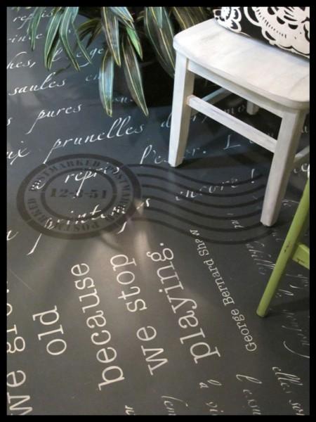 Chalk Paint stenciled floor