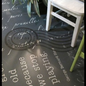 Chalk Paint stenciled floor