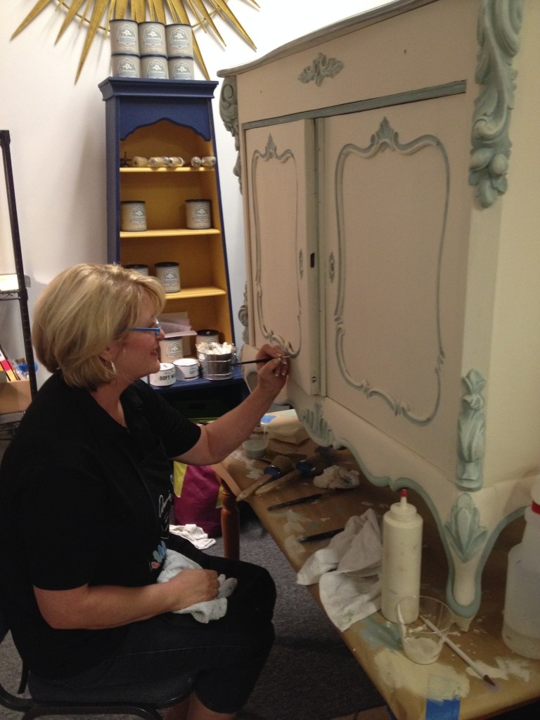 Judy working on the trim details