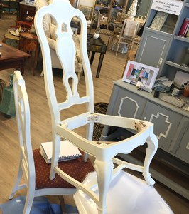 Chairs painted with Old White but needing a bit more pizazz