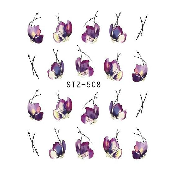 1 Sheets Colorful Purple Fantacy Flowers Nail Stickers Water Transfer Manicure Decals - ShopeeBazar