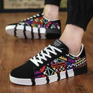 2018  New Men's Vulcanized Shoes Printing Pattern Skateboard Shoes Breathable  Fashion Men Casual Platform Shoes - ShopeeBazar