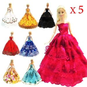 5 Pcs High Quality Fashion Handmade Clothes Dresses for Barbie Doll - ShopeeBazar