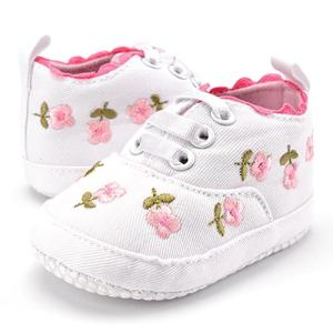 Baby Girl Shoes White Lace Floral Embroidered Soft Shoes free shipping - ShopeeBazar