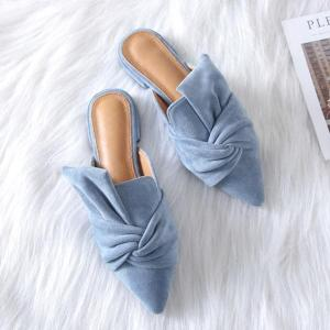 Boussac Elegant Bowtie Women Mules Pointed Toe Flat Shoes - ShopeeBazar