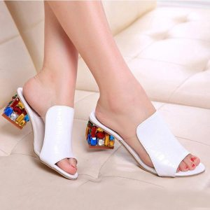 Colorful Rhinestone crystals Heels peep Toe Summer women's Shoes Woman Sandals slippers - ShopeeBazar
