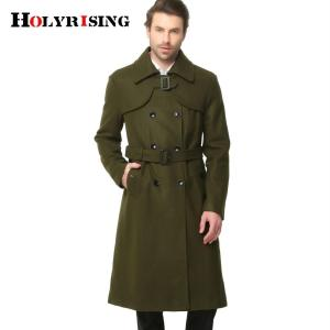 Autumn Winter Classic Men Trench Slim Wool Coats Double Button - ShopeeBazar