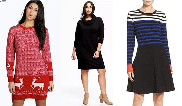 Sweater dresses are a comfortable option for Thanksgiving!