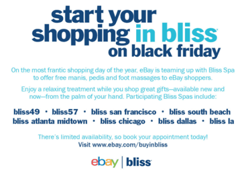 Shopping in Bliss - Free mini spa  treatments at Bliss on Black Friday