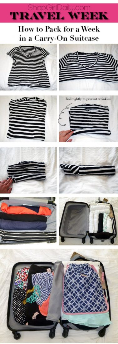Travel tips: Leave the big bag at home! These tips will help you pack for a week in a carry-on suitcase!