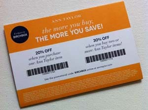 Ann Taylor coupon via Birchbox