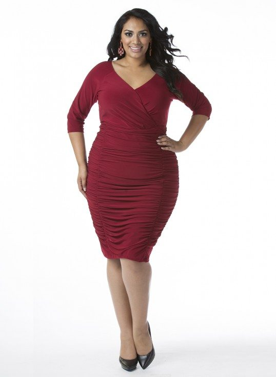 Ambrosia Plus Size Dress in Deep Rouge