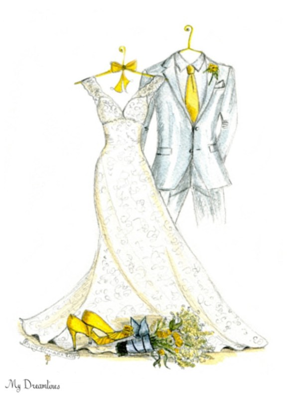 Wedding Dress and Suit Sketch from My Dreamlines