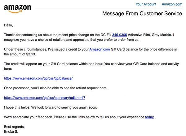 Amazon response to Paribus refund request