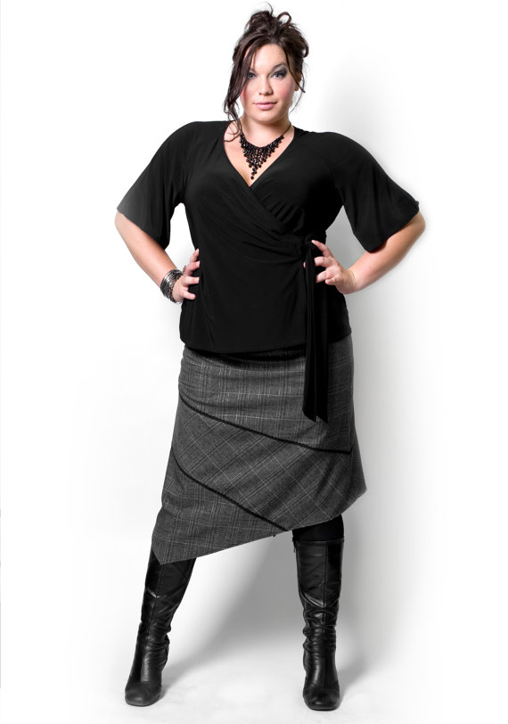 Handmade Plus Size Clothing: Black Wrap Top with Kimono Sleeves | ShopGirlDaily.com
