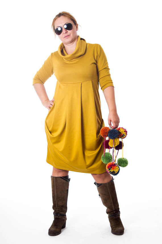 Plus Size Yellow Cowl Neck Dress