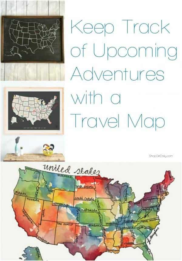 Keep track of upcoming adventures with one of these travel maps that we spotted on Etsy | ShopGirlDaily.com