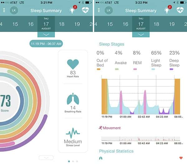 EarlySense Live Sleep Summary