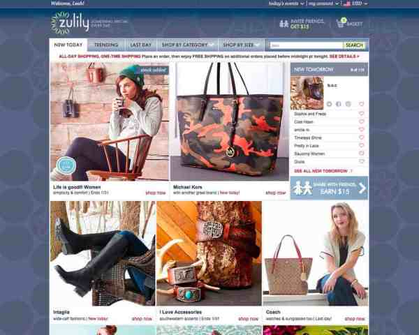 Zulily Homepage