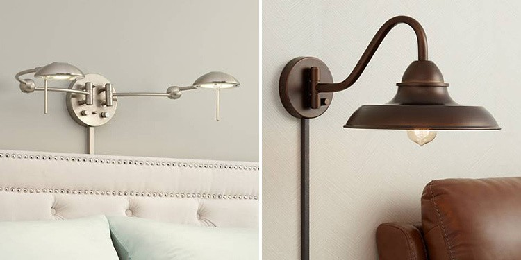 Plug-in wall sconces from Lamps Plus