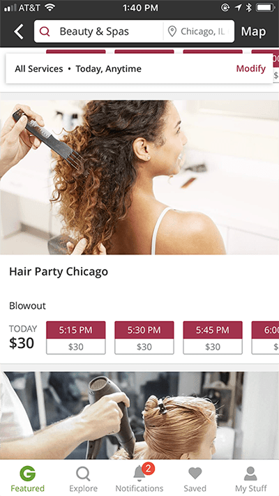 Using Groupon BeautyNow to book appointments
