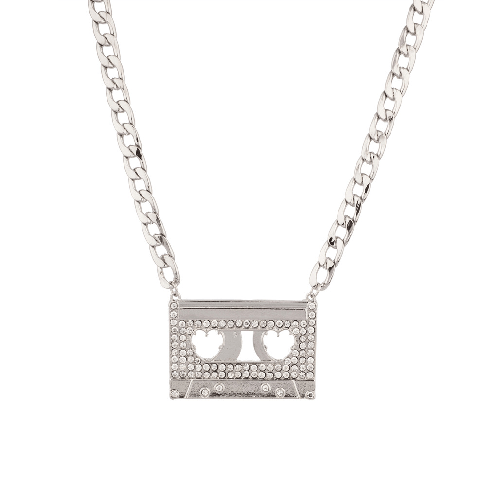 Cassette Tape Deck Pave Bling Iced Out Heart Chain Link