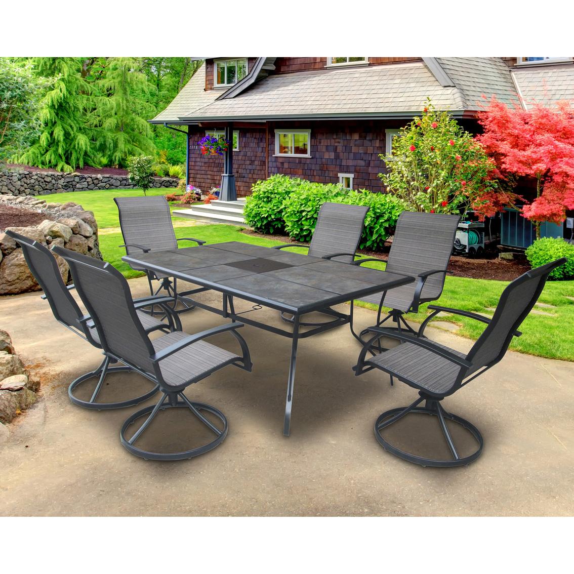 courtyard creations woodridge 7 pc outdoor dining set