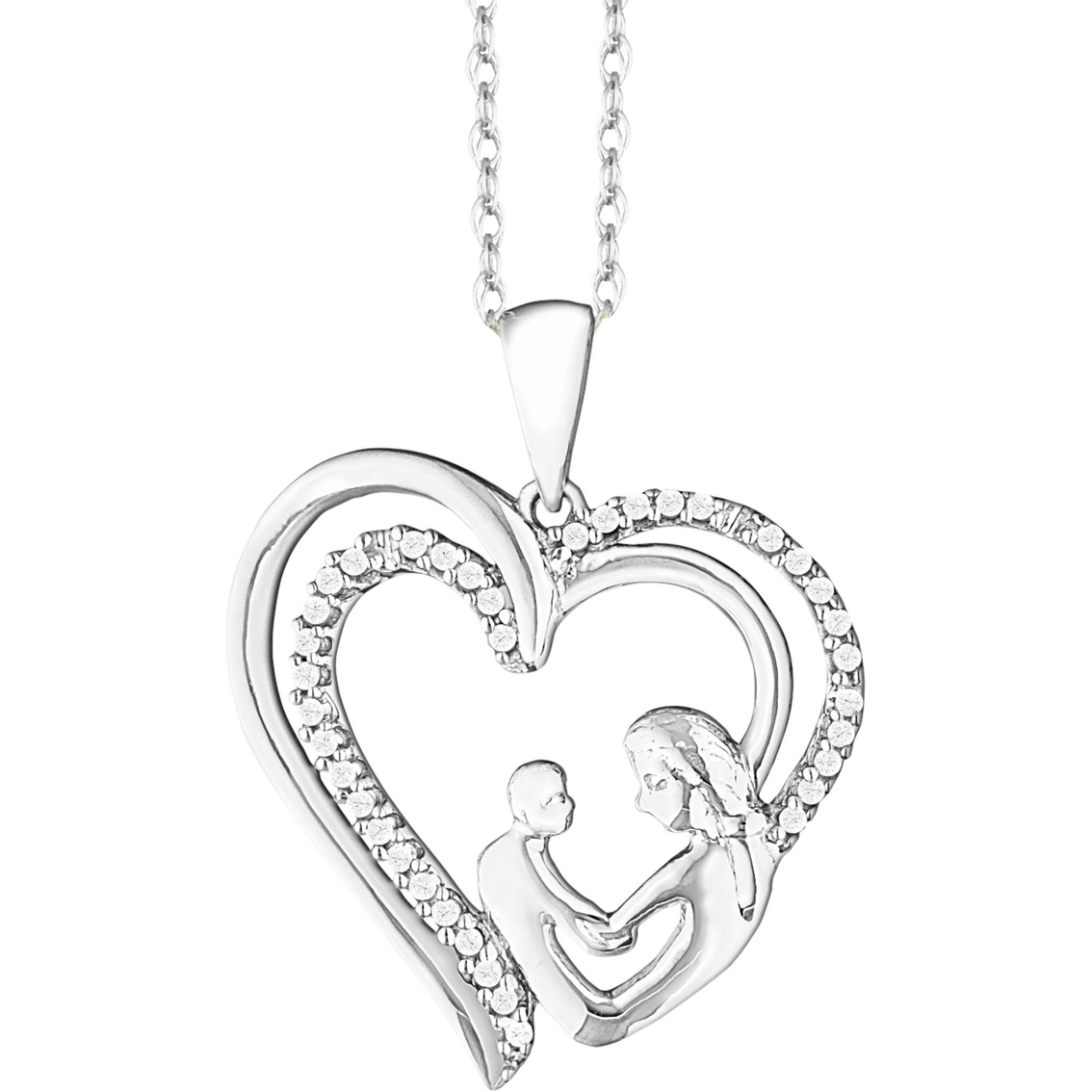 10k White Gold 1 10 Ctw Mother And Child Heart Pendant
