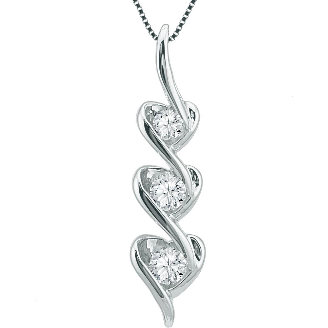 Sirena 14k Gold 1 5 Ctw Diamond Triple Heart Pendant